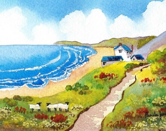 Original Watercolour, Painting, The Old Rectory, Rhossili Bay, Gower, Wales, 9ins x 7ins, Fathers Day,  Gift Idea, Art and Collectibles