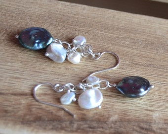 Midnight and moonlight freshwater pearl dangle earrings