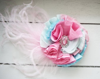 Handcrafted Aqua Mint and Pink Over the Top Bow - Pastel Hair Clip - Easter Bows - Spring Hair Accessory - Cotton Candy Birthday - Fancy Bow