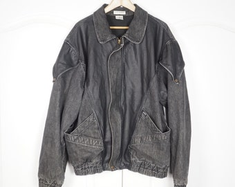 Vintage 80's Guess Jeans Leather and Denim Georges Marciano Jacket Extra Large XL Marty Mcfly Back to the Future