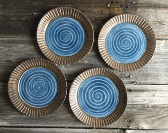 Small Plates handmade hand carved edge wheel thrown set of four blue and gold, dinnerware, serving plates, dessert plates, small bites
