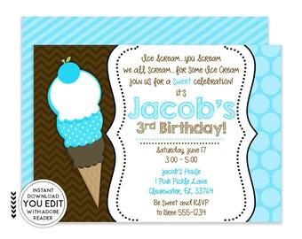 Ice Cream Invitation, Ice Cream Party, Ice Cream Birthday Invitation, Ice Cream Party Invitation, Ice Cream Birthday, Ice Cream | 1