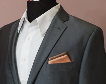 Pocket Square, Xavier Cognac and Brown Pre-Folded Pocket Square