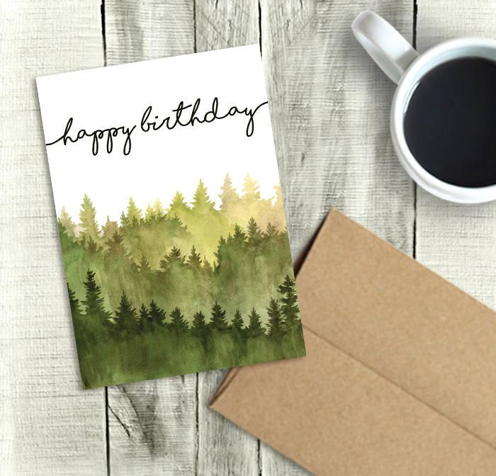Printable Birthday Card For Him Happy Birthday Watercolor