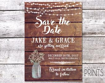 Rustic Mason Jar & Lights - Save the Date