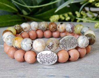 Natural Bracelet, Bead Bracelet Stack, Rosewood Bracelet, Wooden Bracelet, Stacked Bracelet, Earthy Bracelet, Nature Bracelet