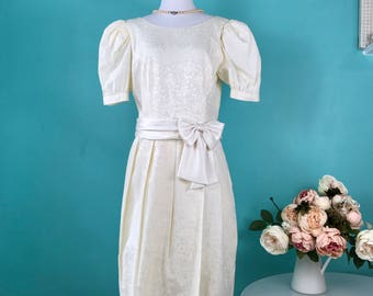 NWT Vintage Lanz Dress Off-White Short Puff Sleeves Size 12