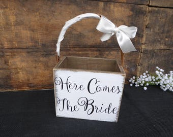 Here Comes the Bride Wood Petals Basket ~ Flower Girl Ring Bearer ~ Wedding ~ Distressed  Rustic Decor