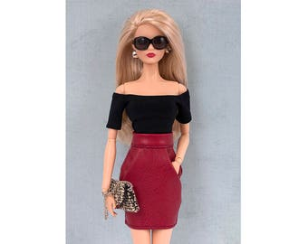 Red faux-leather skirt for Barbie and Poppy Parker