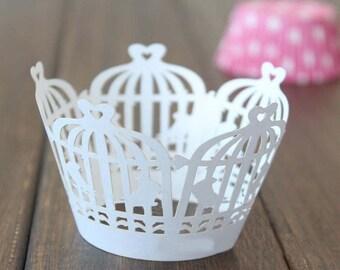 50x White Birdcage Cupcake Wrapper for Wedding Party Cake Tree  Decoration | Reception Centerpiece Baking Decor