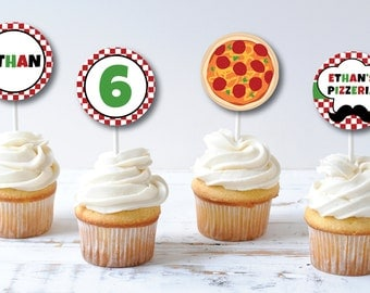 Pizza Birthday Party Cupcake Toppers - Cupcake Topper/Wrapper Set - Italian Birthday - Party Circles - DIGITAL DESIGN