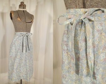 Vintage 1970s Wrap Skirt - Small Skirt, Floral Cotton High Waist Wrap Skirt, Sm Pale Blue Grey A Line Midi Skirt