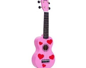 Ukulele, Valentines Painted Ukulele, Pink Ukulele, Red Hearts Ukulele, Valentines gift, Decorated Soprano, ukulele instrument, ukelele