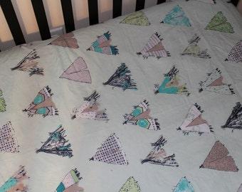 Mint Tee Pee Crib Sheet, Designer Cotton Crib Sheet or Pack n Play sheet, Nursery Bedding, Crib Bedding, Gansu Village Mintglow