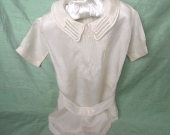 Baby one piece outfit, off white / vintage antique infant snap closure, belted AS IS  / retro clothing Christening