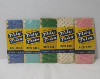 One, 1950s Vintage Package Rick Rack by Tidy Trim, 3 Yard Pkg, Mercerized Cotton, 5 Colors Available, Sz 29, Vintage Package Trim, Home Sew