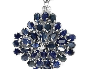 10.96ctw Oval Blue Sapphire Sterling Silver Pendant