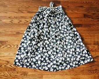 Vintage Daisy Print Maxi Long Skirt with Ribbon