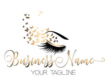 Custom logo design , lash with butterfly logo, eye gold lashes beauty logo, makeup logo, gold lashes logo design, gold beauty logo lash