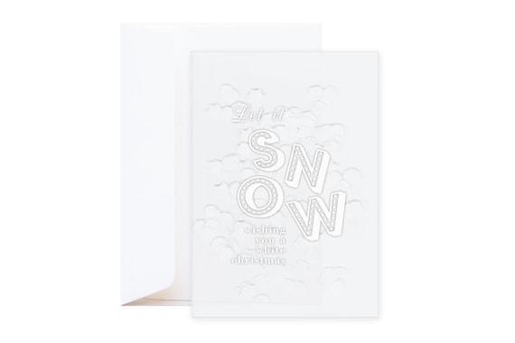 "Confetti Christmas Card ""Let it snow"" // Single silkscreen confetti card including envelope // Original modern typographic quote card"