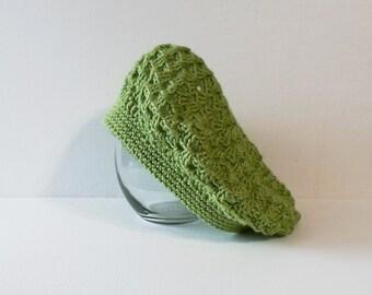 Hand Made Green Crochet Women's Beret