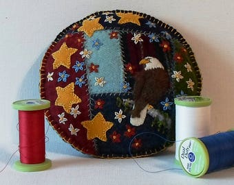 Handmade American Eagle Felted Wool Embroidered Crazy Patchwork Pincushion