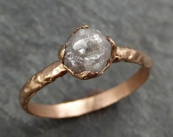 Raw Diamond Solitaire Engagement Ring Rough 14k rose Gold Wedding Ring diamond Wedding Set Stacking Ring Rough Diamond Ring byAngeline 0374
