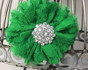 Emerald green hair flower, green hair clip, green hair accessory, girls flower hair clip, flower hair accessory, alligator hair clip.