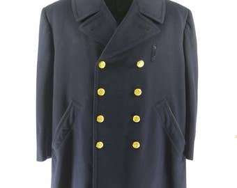 Vintage 50s Chicago Police Department Pea Coat Mens 44 Union Made Peacoat [H40K_7-2]