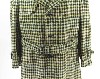Vintage 60s Tweed Overcoat Mens 44 Union Made Houndstooth Alpacuna [H68V_2-8_Long]