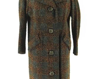 Vintage 60s Nubby Fleck Wool Overcoat Womens L Plaid Monogrammed [H11K_3-5_Long]