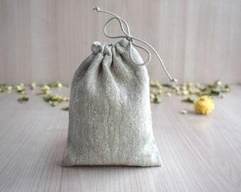 Blank natural drawstring pouch bag with lining Linen canvas bag Light gray Tarot Card deck holder Travel makeup organizer
