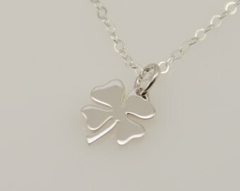 Lucky necklace. Four leaf clover pendant. Sterling silver necklace. Sterling silver clover charm
