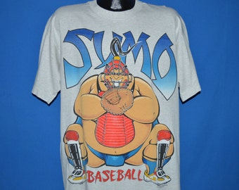90s Sumo Wrestling Baseball Catcher t-shirt Extra Large