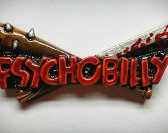 """Psychobilly bat and machete badge """"SERIAL KILLER RED edition"""""""