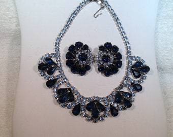 Blue Vintage Necklace and Earrings