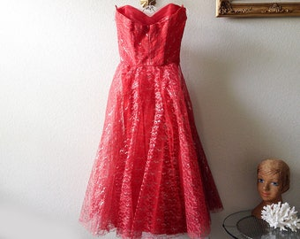 Vintage red prom dress strapless cupcake sweetheart party formal tulle gown silver floral lace