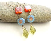 Colorful Boho Orange Blue and Green Beaded Dangle Earrings, Orange Polka Dot Blue Flower Green Teardrop Earrings