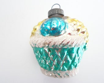 Vintage Christmas Glass Ornament Green, Blue, White and Gold Fruit Basket Made in Germany