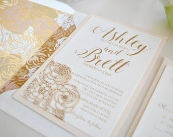 Blush and Gold Wedding Invitation (SAMPLE LISTING) - Floral Laser Cut Romance - Color/wording/materials Customizable, Navy Blue