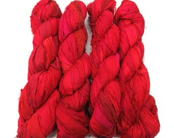 New! Huge Premium  Sari Silk Ribbon, Irredescent Fire Red