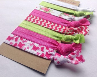 Pink green and white prints knotted hair ties