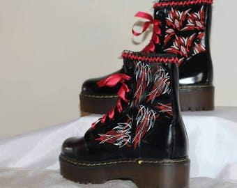 Pinstripe custom boots . Alternative punk goth
