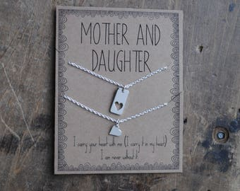 Mother Daughter Necklace Set for Mothers day  .  i carry your heart  .  first day of school mother daughter set  .  mother of the bride gift