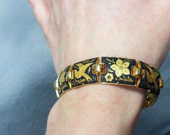 Black and gold link bracelet, metallic flower and bird metal bracelet