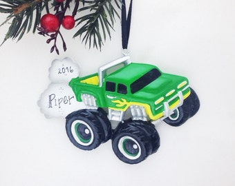 FREE SHIPPING Green and Yellow Monster Truck Personalized Christmas Ornament / Child Christmas Ornament / Little Boy Ornament / Toddler