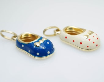 Vintage Blue & White Enamel Baby Shoe Charms with 14k Yellow Gold Baby Charm Vintage Charm Jewelry