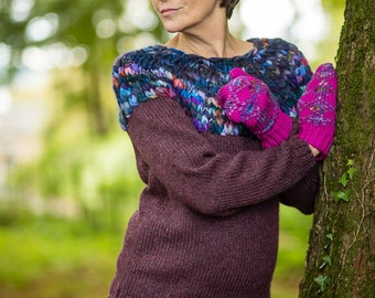 Hand Knit Jumper in Mulberry Purple Alpaca and Merino Wool by Crooked Knitwear