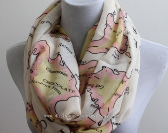 Pink Beige Map Infinity Scarf, Candy Scarf, Map Scarf, Travel, Infinity Scarf, Christmas Gifts, For Her, For Girls, For Mom, Womens Scarf