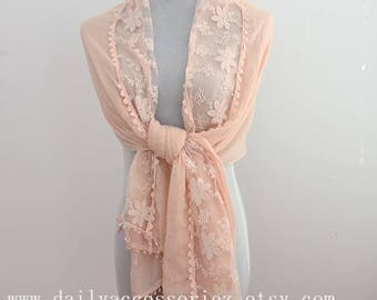 Wedding Scarf, Pink Lace Scarf, Bridesmaid gift, wedding gift, wedding shawl, gift for bridesmaid, bridesmaid scarf,lace scarf, for wedding